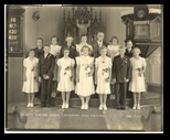Bears Grass St Peters Lutheran Church Confirmation Class of 1939 An Augusta Wisconsin confirmation class of 1939 - at the end of the Depression - a change and movement to prosperity and movement to World War Two (World War II)  John Knuth at the age of 14 in the top row - first upper left The church was in Bears Grass Wisconsin - an area just 4 miles from Augusta, it never became a thriving community.  Bears Grass church was a 'subsidiary of the more prosperous Grace Lutheran Church of Augusta Wisconsin